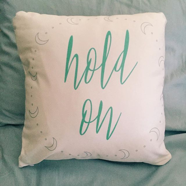 "When you don't think you can take anymore, hold on. Hold on. Those two words got me through many teary nights, and I hope they can comfort you, too.I designed this pillow for the ""Notes to Self"" collection that goes on sale tomorrow. For each purchase, I Choose Beauty will donate a portion of the proceeds to Mental Health America to help educate the public about depression and mental illness.More details tomorrow! #IChooseBeauty"