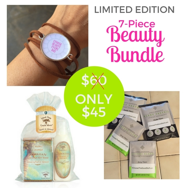 "Lift your spirits. Indulge your senses. Nourish your body. Just 2 days left to get this Limited Edition Beauty Bundle! Features a handmade ""Choose Beauty Every Day"" wrap bracelet to remind you to always look for the beauty in life; a YUMMY tropical soap + lotion combo in your choice of Creamy Coconut or Plumeria Blossom, handmade here in Hawaii; and two single-servings each of my favorite vegan Vanilla Plant Protein and Greens Blend to fuel your body and mind..Shipping is on me (U.S. and Canada only). Enter code FREESHIPPING at checkout. And 5% of the net proceeds goes to @MentalHealthAm. Click link in bio to order! You deserve it ️"