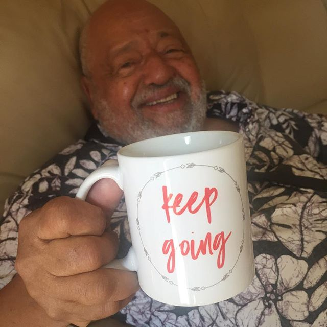 #tbt to when my dad was here visiting and of course, he had to be an #IChooseBeauty super model The KEEP GOING mug and the entire Notes to Self collection are designed to help you feel good every day! Plus with every purchase, #IChooseBeauty donates 5% of net proceeds to @mentalhealthamerica Link in bio #IChooseBeauty Day 1154