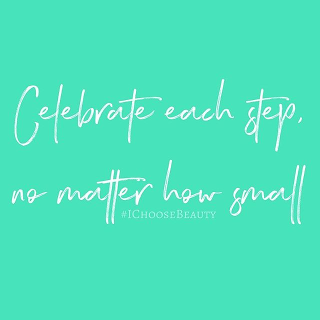 When you're struggling, it may seem like you're stuck. Or moving so slowly, it feels like you're dragging weighted legs through thick mud. But you're making progress, even if it's just tiny bit by tiny bit. Celebrate each step, no matter how small. Be proud of how far you've come and everything you've already gotten through. #MondayMotivation #IChooseBeauty