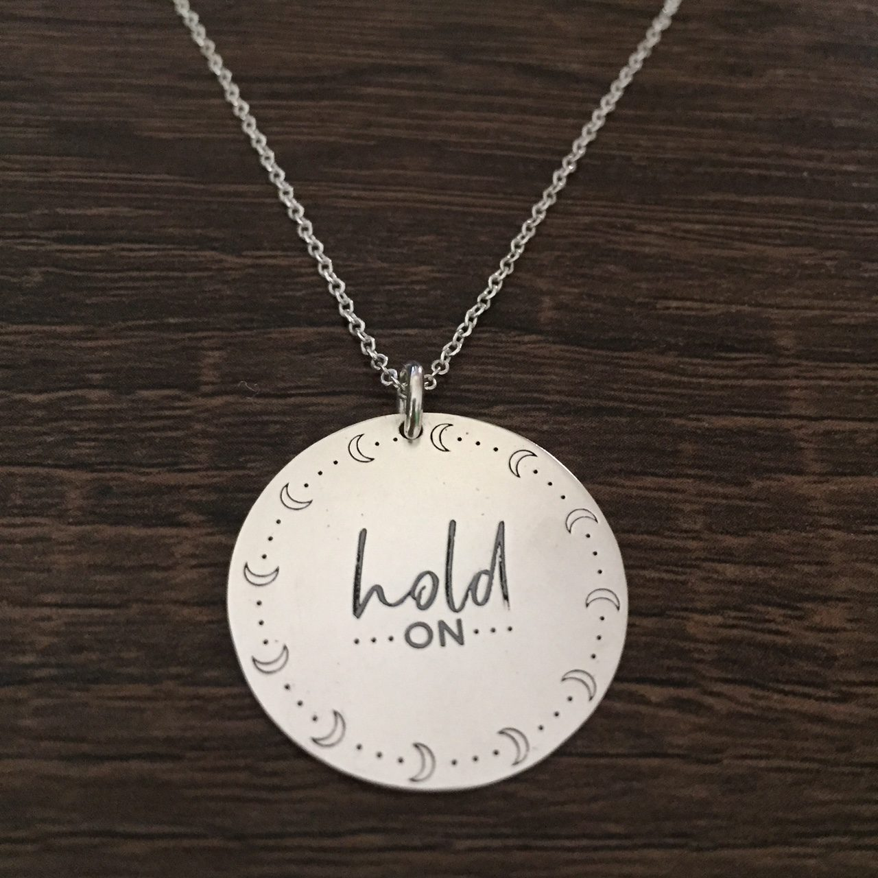 Hold on – Custom laser-engraved sterling silver pendant