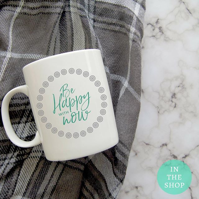 In the shop: BE HAPPY WITH NOW mugs....Our desire to want more doesn't mean what we have now isn't meaningful. You can still go after your dreams. But be happy with now and be grateful for all that you already have… even if things aren't perfect. .Link to shop in bio. 5% of net proceeds goes to @mentalhealthamerica #IChooseBeauty