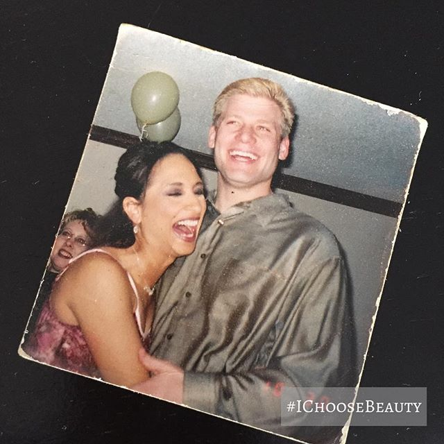 Stumbled across this old picture as I was looking for something in my wallet. I've carried it with me for 15 years! A great moment from when Paul and I first met. ️ #IChooseBeauty Day 1545