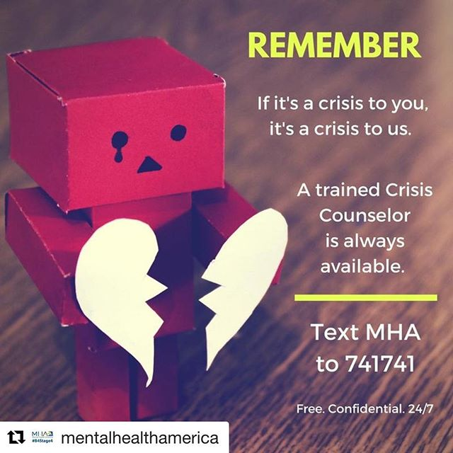 #MentalHealthMonday If you're struggling, please know you can get help right away with this Crisis Text Line. ️ #youarenotalone#Repost @mentalhealthamerica with @get_repost・・・Did you know you can text the Crisis Text Line 24 hours a day, 7 days a week to get connected with a trained Crisis Counselor? Text MHA to 741-741.