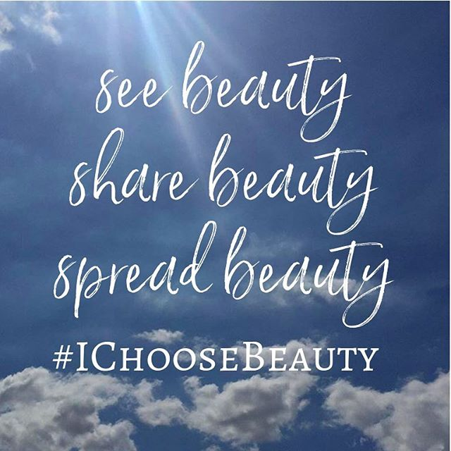 Who wants to help me spread beauty far and wide? ‍♀️.If you scroll through the #ichoosebeauty feed (recent posts), you'll see pictures of beauty that many of you in this sweet Instagram community have posted. Pictures that make you AND other people feel good (myself included). I can't tell you how much I LOVE seeing your pictures! They always brighten my day. .So... I was thinking about how uplifting it would be to spread even more beauty throughout the world and brighten MORE people's days! .If you're not already doing so, here's how you can help - Whenever you notice beauty, take a picture and share it using the hashtag #ichoosebeauty. .Beauty is whatever you want it to be - Something you see, feel, hear, smell, taste, read, think, remember. It can be something big that happened that makes you want to jump up and down and tell the whole world, or something small that you notice for the first time. Anything that makes you smile, laugh, feel good - if even for a moment. ‍♀️️‍♀️.See beauty. Share beauty. Spread beauty. #ichoosebeauty ☂️.Who's in?!?! Comment with an emoji if you want to help make Instagram bursting with beauty!