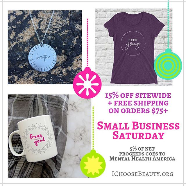 It's Small Business Saturday! Shop small today... AND make a difference in the world..When you shop my I Choose Beauty products, you give a gift filled with positivity for someone in your life... plus I donate 5% of net proceeds to @mentalhealthamerica ️ So, your purchase also helps others who may be struggling. 殺.You make a difference when you support my Beautycounter biz, as well. Your purchase helps us educate the world about the harmful ingredients in personal care products. plus continue to advocate for safer regulations in the beauty industry..Links to shop both are in my bio. Thank you for your support! ️️️ #smallshoplove #shopsmallbiz #shopsmallsaturday