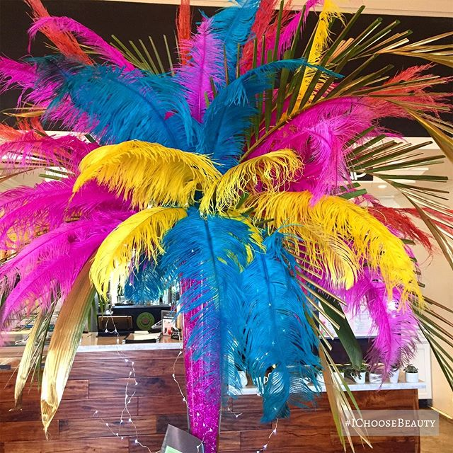 Brightly colored feather arrangements make everything better. #amiright #ichoosebeauty Day 2043