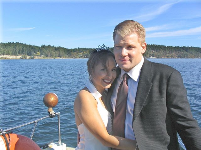 Happy 14 Year Anniversary to us! 🍾 We got married on this boat off the coast of Orcas Island in Washington state on a perfectly sunny 70-degrees day that I will never forget. ️Like everyone else, we've had our ups and downs, but I'm so grateful to be able to navigate life with this guy, the love of my life who has many names, including but not limited to: Honey Baby, Sugar, Biscuit, Triscuit, Sweet P, Paw-Paw-lee, Pablo Honey (Jerky Boys reference), Pablo, Pauleee, and... sometimes even Paul.  Cheers to us! #ichoosebeauty Day 2134