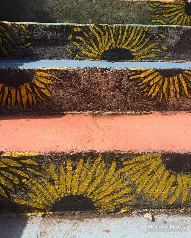 Sunflowers painted on old steps. Totally brightened my day. #ichoosebeauty Day 2178