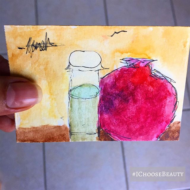 A tiny still life, painted by my youngest niece @njandee_art. She's so talented!!!  #ichoosebeauty Day 2219