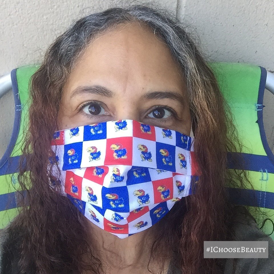 This mask makes me sooo happy! ️ Thank you @christamacfarlane for alerting me of this Jayhawk gem!  #rockchalk #ichoosebeauty Day 2341