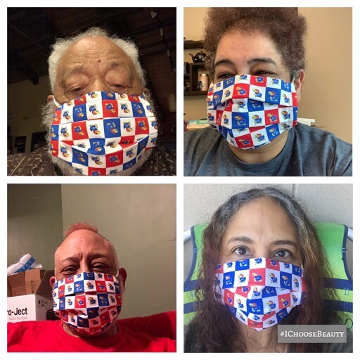 How KU-te is this?! See what I did there?!  Me and my Jayhawk fam.  Please note, my dad has his mask on upside down. 🧐#rockchalk #ichoosebeauty Day 2358