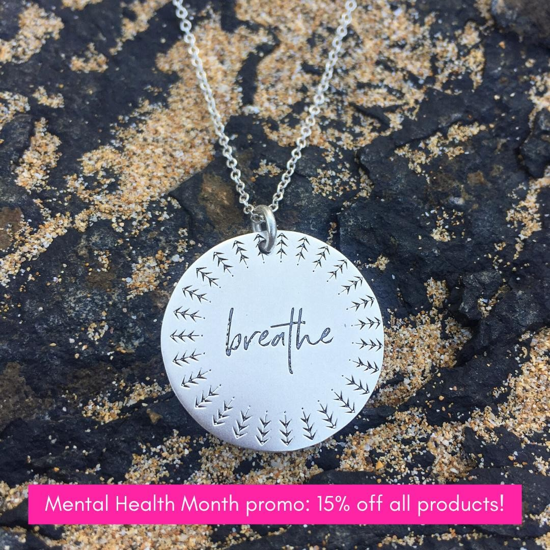 In case you need some feel-good products right now... everything in the I CHOOSE BEAUTY Shop is 15% off in honor of Mental Health Month!⁠⁠Pendants, tees, tanks, mugs, ... and the brand new Finding Hope journal are all on sale! Plus 5% of net proceeds goes to @mentalhealthamerica.⁠⁠Use code MHM15 at checkout. ⁠⁠Link to shop is in my bio. ⁠⁠***Please note: Expect shipping delays on apparel and mugs due to Covid safety measures at the warehouse that handles our printing. ⁠⁠⁠⁠⁠#ichoosebeauty #breatheinbreatheout #breathedeep #breathein #breatheout #breathedeeply #breatheeasy #breathelife #grounding #groundingenergy #groundingtechniques #wearabletherapy #statementnecklaces #pendantnecklace #sterlingsilvernecklace #sterlingsilverjewelry #inspirationalwords #inspirationalmessage #inspirationalthoughts #liveinspired #mantras #giftideasforher #giftsforfriends #womenownedbusinesses #comforting #takecareofyou #mentalwellness #mentalhealthsupport